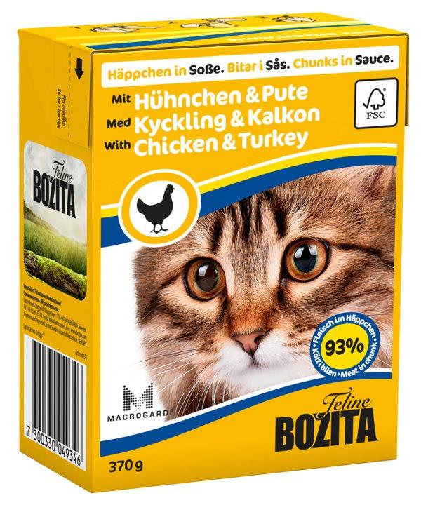 2051 26924 - Bozita Katt Tetra Bitar i sås med Kyckling & Kalkon 370 g