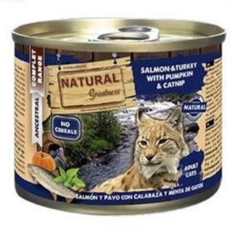 2051 47967 - Natural Greatnes Salmon & turkey with pumkin & catnip, 200 gr